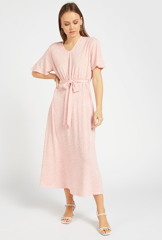 All-Over Print Midi A-line Dress with V-neck and Belt