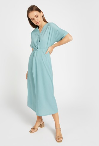 Textured A-line Wrap Midi Dress with Short Sleeves