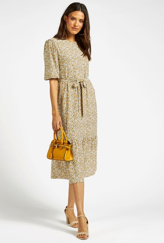 Floral Print Tiered Midi Dress with Short Sleeves and Tie-Ups