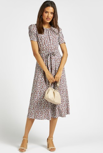 All-Over Floral Print Midi A-line Dress with Short Sleeves and Tie-Ups