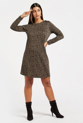 Animal Print Knee Length Shift Dress with Long Sleeves and Button Detail