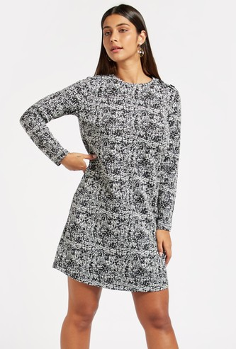 Textured Jacquard Shift Dress with Long Sleeves and Button Detail