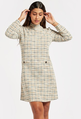 Textured Jacquard Shift Dress with High Neck and Long Sleeves