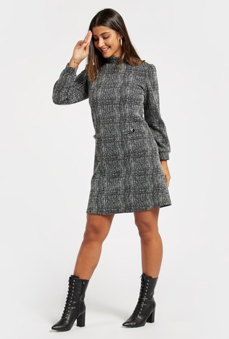 Textured Knee-Length Jacquard Shift Dress with Long Sleeves