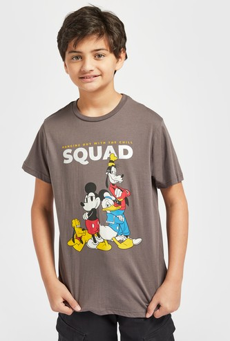 Mickey Mouse Squad Print T-shirt with Round Neck and Short Sleeves