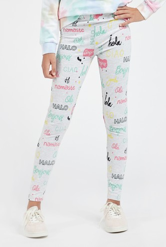 All-Over Text Print Full Length Leggings with Elasticated Waistband