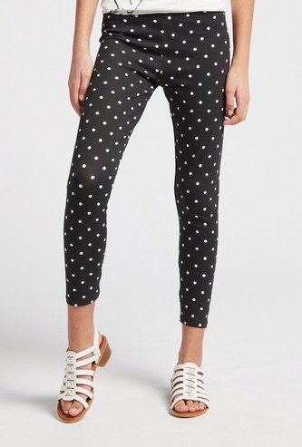 All-Over Polka Dot Print Leggings with Elasticised Waistband
