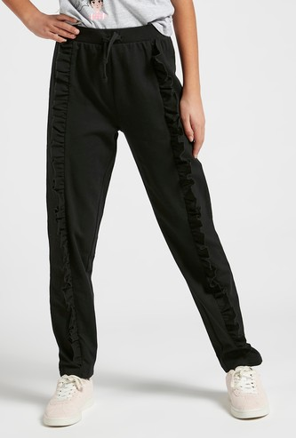 Solid Ponte Pants with Ruffle Detail and Drawstring