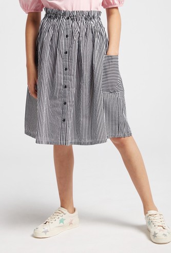 Striped Skirt with Paper Bag Waist and Pocket Detail