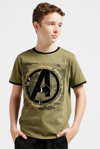 Avengers Graphic Print T-shirt with Crew Neck and Short Sleeves