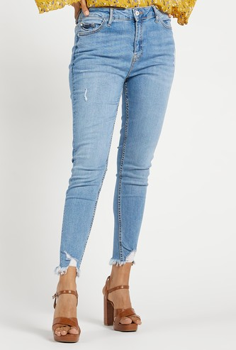 Super Skinny Fit Cropped High-Rise Ripped Denim Jeans