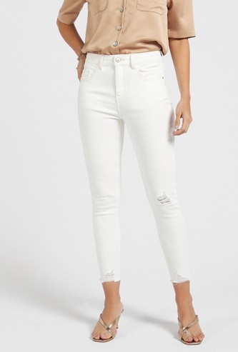Solid Skinny Fit Ankle Length High Rise Jeans with 5-Pockets