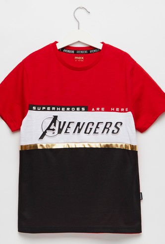 Avengers Print Panelled Round Neck T-shirt with Short Sleeves