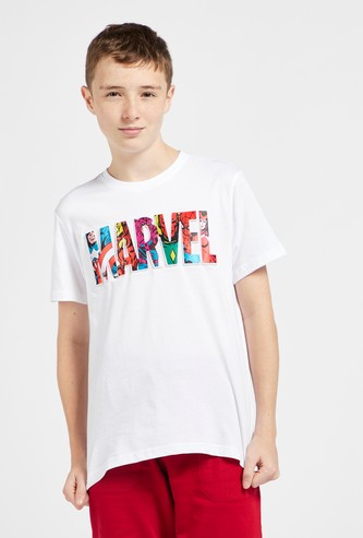 Marvel Text Embossed T-shirt with Round Neck and Short Sleeves