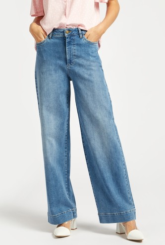 Wide Fit Solid High-Rise Jeans with Pockets and Zip Closure