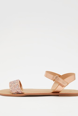 Embellished Ankle Strap Sandals with Hook and Loop Closure