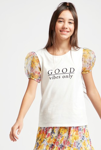 Text Print T-shirt with Round Neck and Puff Sleeves