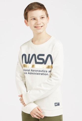 NASA Print Round Neck Sweatshirt with Long Sleeves