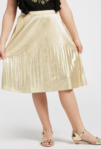 Solid A-line Pleat Detail Metallic Skirt with Elasticised Waistband