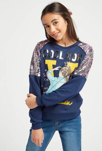 Embellished Round Neck Sweatshirt with Long Sleeves