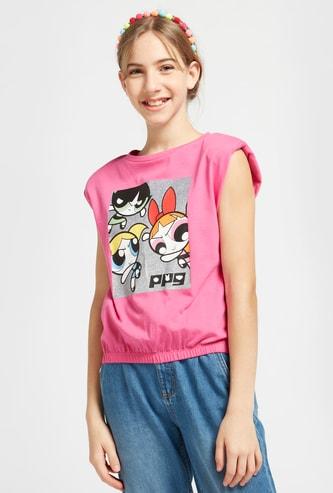 The Powerpuff Girls Graphic Print Sleeveless T-shirt with Round Neck