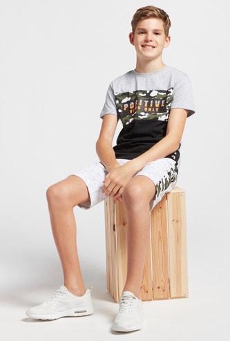Text Print Panel T-shirt and Shorts Set