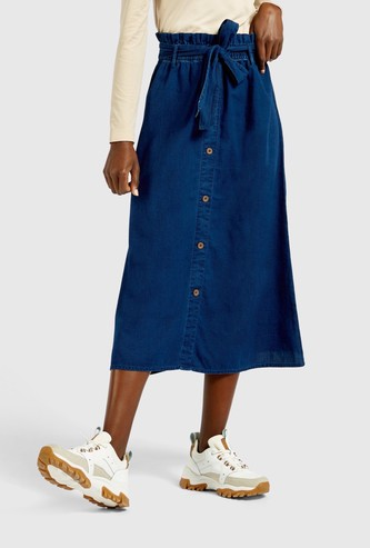 Solid Denim Midi A-line Skirt with Paper Bag Waist and Tie-Ups