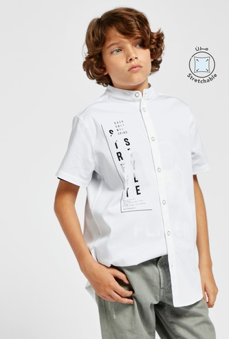 Typographic Print Shirt with Button Closure and Mandarin Neck
