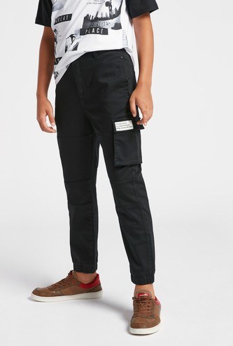 Text Print Jog Pants with Pockets