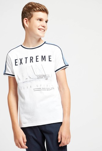 Typographic Print Round Neck T-shirt with Contrast Shoulder Panel