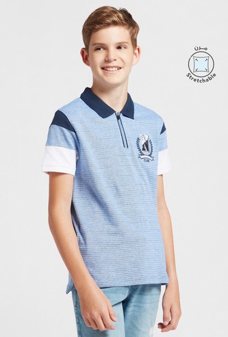 Textured Polo T-shirt with Zip Closure and Short Sleeves