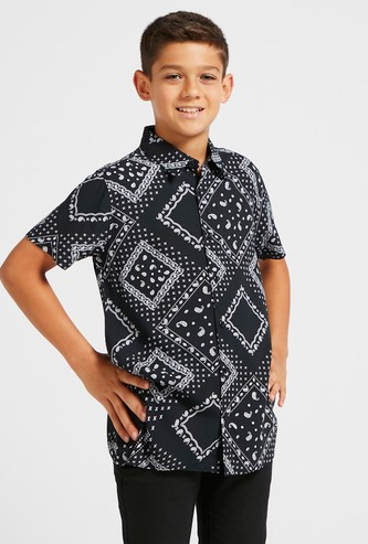 Printed Shirt with Short Sleeves and Collar