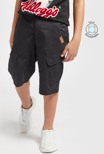 Solid Cargo Shorts with Pockets and Button Closure