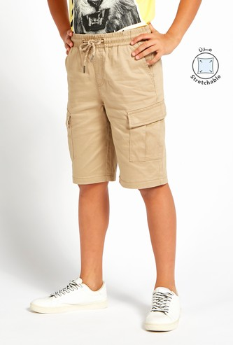 Solid Cargo Shorts with Pocket Detail and Drawstring Closure