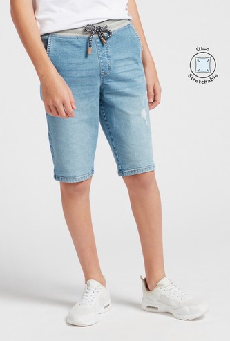 Distressed Denim Shorts with Pocket Detail and Drawstring Closure