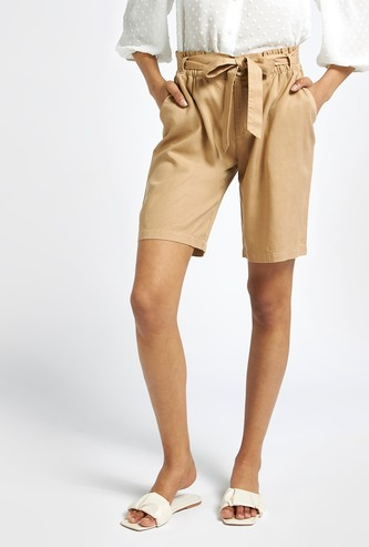 Solid High-Rise Knee-Length Shorts with Tie Up Belt and Pockets