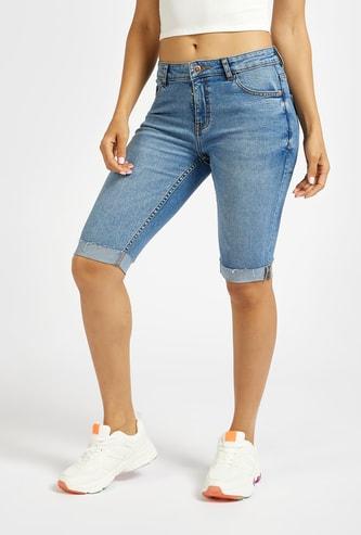 Slim Fit Knee Length Denim Shorts with Pockets