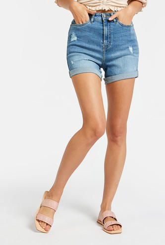 Ripped Slim Fit Denim Shorts with Pockets