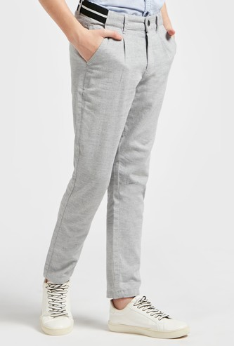 Textured Pants with Button Closure and Pockets