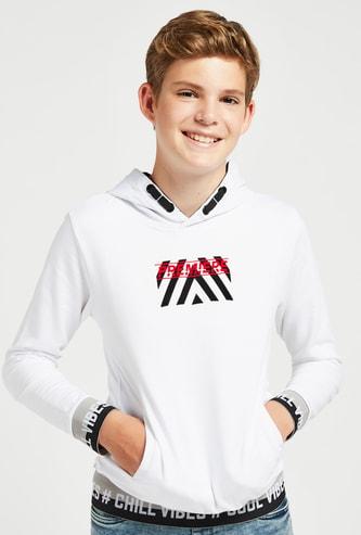 Printed Hoodie with Long Sleeves and Kangaroo Pocket