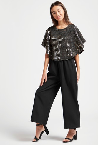 Ankle Length Embellished Cape Jumpsuit with Keyhole Closure
