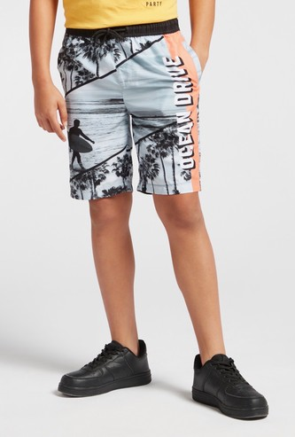 Graphic Print Shorts with Pocket Detail and Drawstring Closure