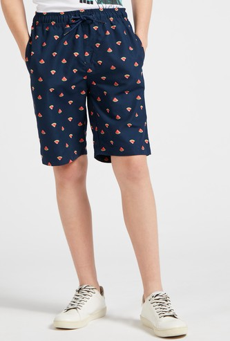All-Over Watermelon Print Shorts with Pockets and Drawstring Closure