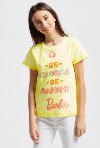 Barbie Print Round Neck T-shirt with Mesh Overlay