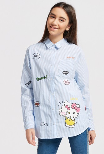 Hello Kitty Print Shirt with Long Sleeves and Pocket