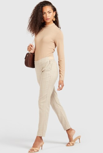 Checked Mid-Rise Formal Trousers with Elasticised Waistband