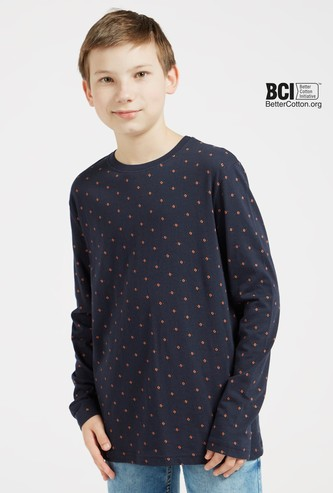 All Over Print T-shirt with Round Neck and Long Sleeves