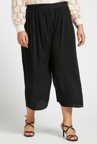 Calf Length Pleated Culottes with Elasticised Waistband