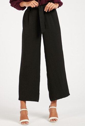 Textured Mid-Rise Palazzo Pants with Paperbag Waist and Tie-Ups