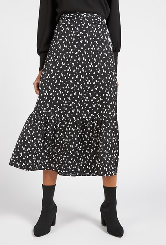 Printed Midi Tiered Skirt with Button Detail and Elasticated Waist